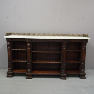 Rosewood and Marble Top Open Bookcase