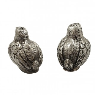 Pair of Antique Edwardian Sterling Silver Chick Pepper Pots 1902