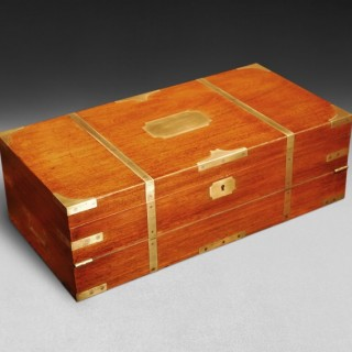 Mid-19th Century Teak and Brass bound Campaign Writing Box