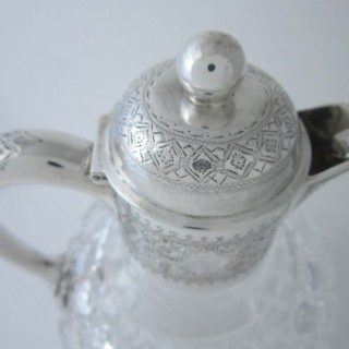 Antique Victorian Sterling silver and glass claret jug