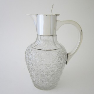 George V Sterling silver and glass claret jug