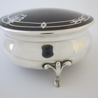 Antique George V Sterling silver and Tortoiseshell trinket box