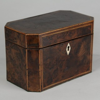 Burr Yew wood Tea Caddy
