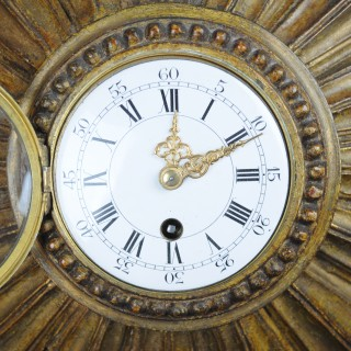 French, gilded wood sunburst clock