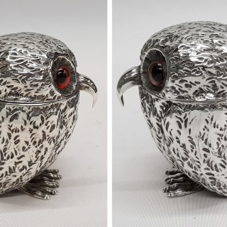 Antique Silver Owl Mustard Pot
