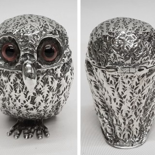 Antique Silver Owl Mustard Pot