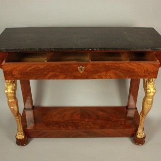 Early 19th Century French Empire Mahogany and Giltwood Figural Console Table