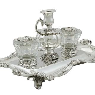Scottish Sterling Silver Desk Inkstand - Antique Victorian (1838)