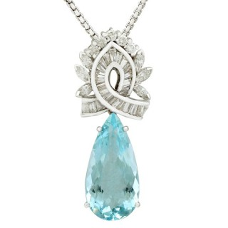 11.20ct Aquamarine and 2.37ct Diamond, Platinum and 18ct White Gold Pendant - Vintage Circa 1950