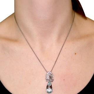 11.20ct Aquamarine and 2.37ct Diamond, Platinum and 18ct White Gold Pendant - Vintage Circa 1950