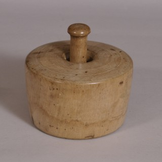 Antique Treen 19th Century Large Sycamore Butter Stamp