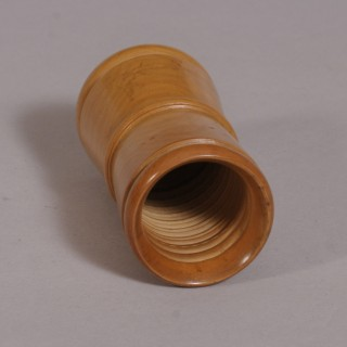 Antique Treen Late Victorian Boxwood Dice Shaker