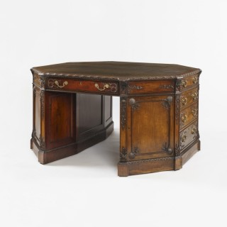A Fine Octagonal Library Desk stamped by H. Samuel of London