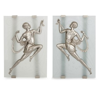 Two Art Deco style frosted glass and silvered bronze wall sconces