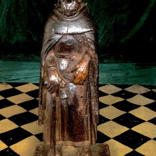 15th century, well patinated wood carving of St James of Compostela.