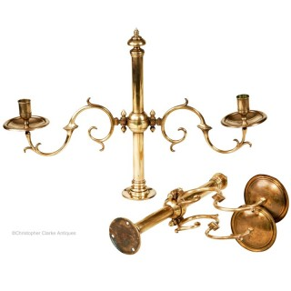 Pair of Tonks Fixed Brass Candelabra