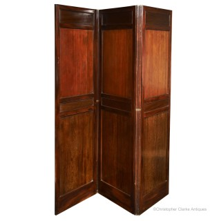 Three Fold Mahogany Panelled Screen
