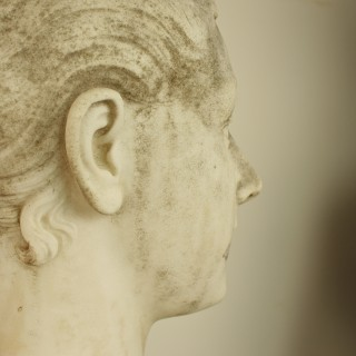 19th Century French White Marble Portrait Bust of a Young Woman
