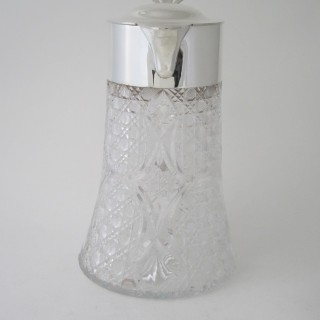 Antique Victorian Sterling silver and glass lemonade jug