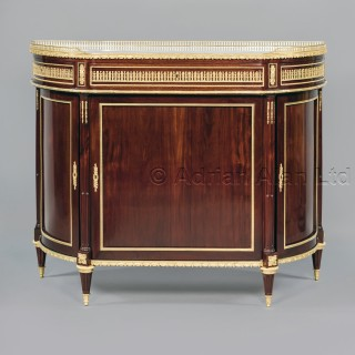 A Pair of Louis XVI Style Gilt-Bronze Mounted Mahogany Side Cabinets