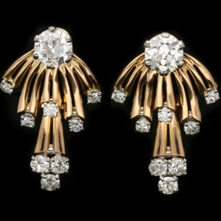Vintage diamond earrings, circa 1950.