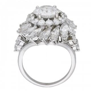 Diamond cluster ring, French, circa 1950.