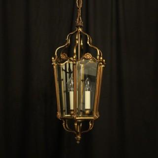 French Bronze Triple Light Antique Lantern