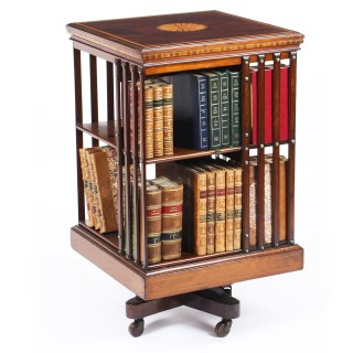 Antique Edwardian Revolving Bookcase Flame Mahogany c.1900