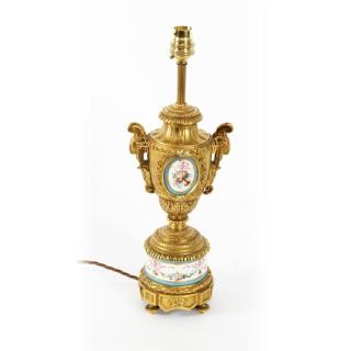 Antique Bleu Celeste Sevres Porcelain Ormolu Table Lamp c.1870 19th Century