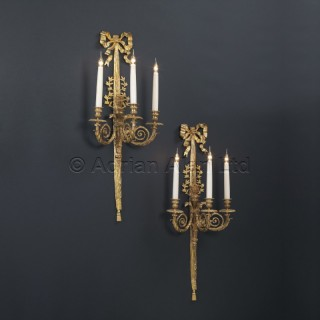 A Pair of Gilt-Bronze Three Branch Wall Lights