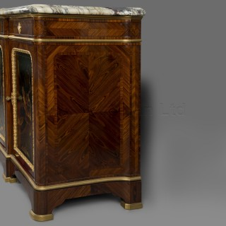 An Exceptional Régence Style Four Door Lacquer Mounted Side Cabinet