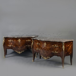 A Fine Pair of Louis XV Style Marquetry Inlaid Commodes