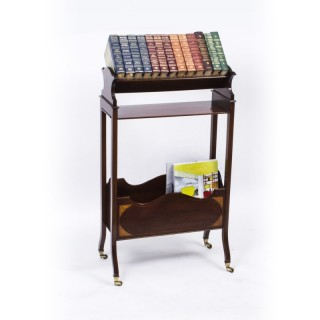 Antique Edwardian Inlaid Mahogany Bookstand c.1900