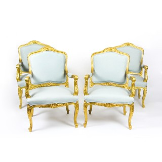 Antique Set of 4 Louis Revival French Giltwood Armchairs 19th Century