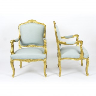 Antique Pair Louis Revival French Giltwood Armchairs 19th Century