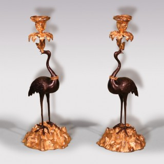 Mid-19th Century Bronze and Ormolu Storks Candlesticks