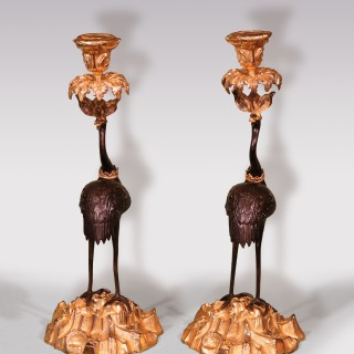 Mid-19th Century Bronze and Ormolu Storks Candlesticks