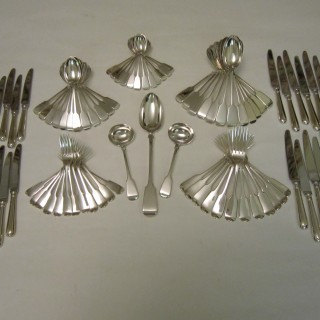 Antique Victorian Sterling silver canteen of cutlery