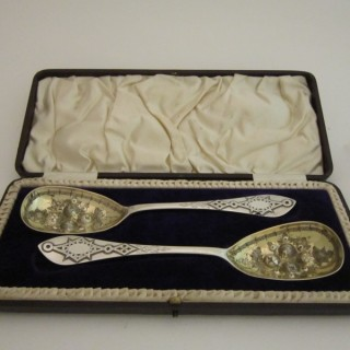 Antique Victorian Sterling silver berry spoons