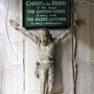 Early 20thC Religious Plaque; 'Christ is the Head of this House' c.1915