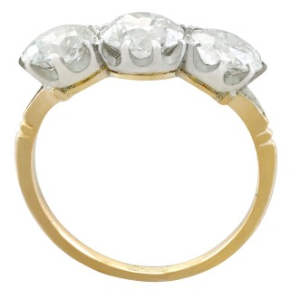 2.41ct Diamond and 18ct Yellow Gold Trilogy Ring - Antique Circa 1910