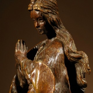 A Very Interesting And Impressive Pine Sculpture Of Maria Immaculata Circa:1600.
