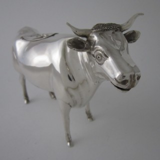 Antique Edwardian Sterling silver cow creamer