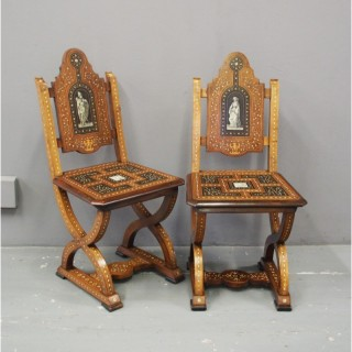 Pair of Italian Renaissance Style Hall Chairs