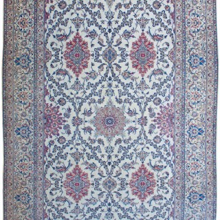 Signed Nain carpet, wool with silk highlights