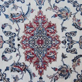 Signed Nain carpet, wool with silk highlights