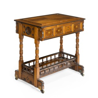 A walnut side table/jardinière by Gillows probably after Augustus Pugin