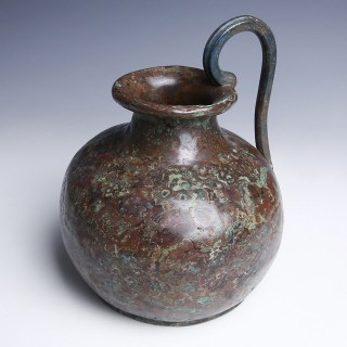 Etruscan Bronze Jug with Decorated Handle