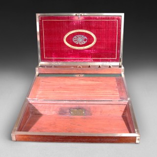 19th Century Teak and Brass bound Campaign Writing Slope