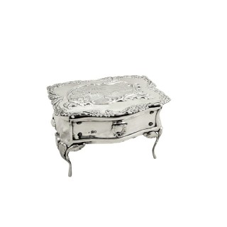 Antique Edwardian Sterling Silver Dressing Table Trinket Box 1903